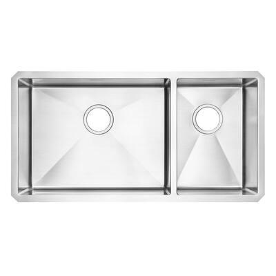 Pekoe Undermount Stainless Steel 35 in. 2-Hole Double Bowl Kitchen Sink Kit