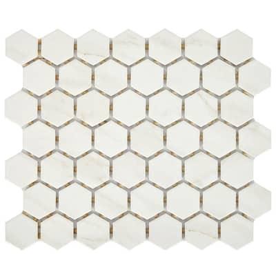 Selwyn 10 in. x 11 in. x 6 mm Bianco Calacatta Glazed Ceramic Hexagon Mosaic Tile (0.81 sq. ft./Each)