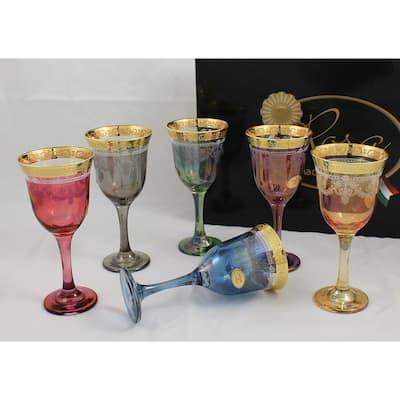 Corona Wine Multicolor Goblets (Set of 6)