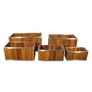 10 in. x 20 in. Rectangular Medium Brown Wooden Planter with Stainless Steel Trim