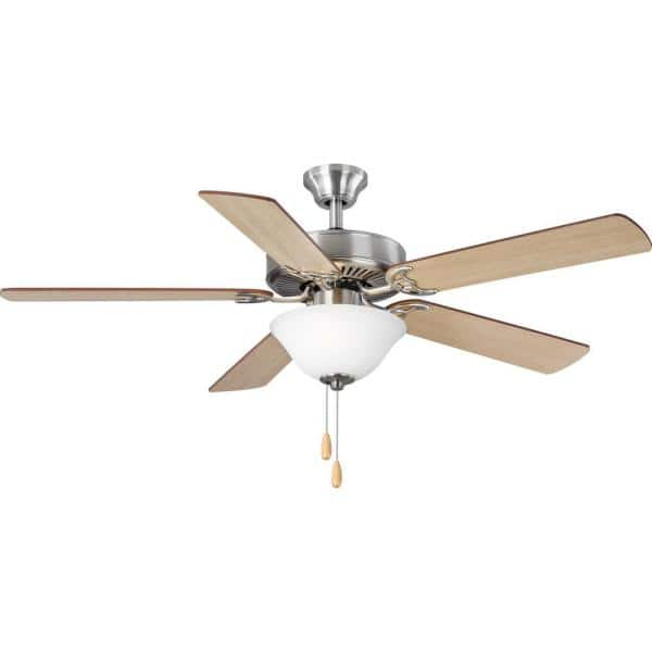 Progress Lighting 5 Blade 52 In Integrated Led Brushed Nickel Ceiling Fan With Light Kit P2599 09 The Home Depot