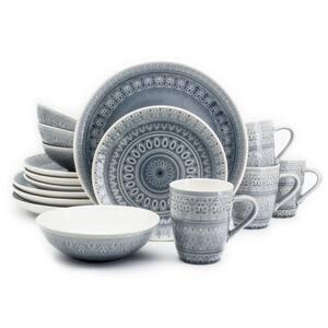 Fez 16-Piece Patterned Grey/Reactive Crackle-glaze Stoneware Dinnerware Set (Service for 4)