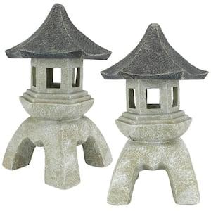 Asian Pagoda Large Statue Set (2-Piece)