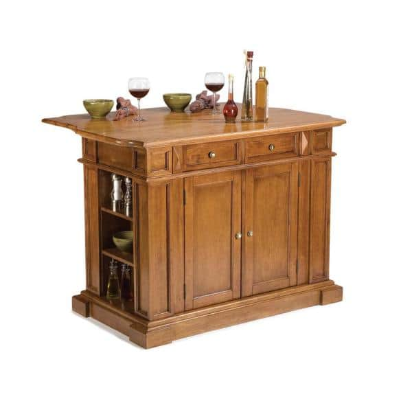 Homestyles Americana Distressed Cottage Oak Kitchen Island With Seating 5004 948 The Home Depot