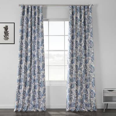 Fullbloom Blue Novelty Blackout Curtain - 50 in. W x 84 in. L