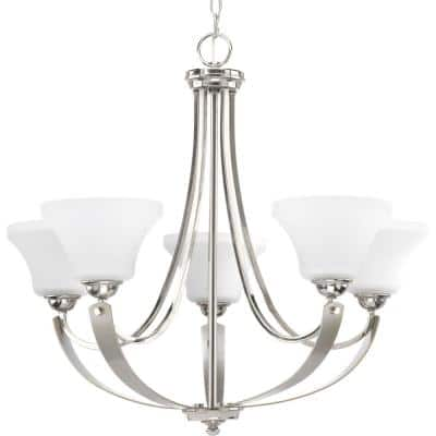Noma Collection 5-Light Polished Nickel Etched White Glass Luxe Chandelier Light