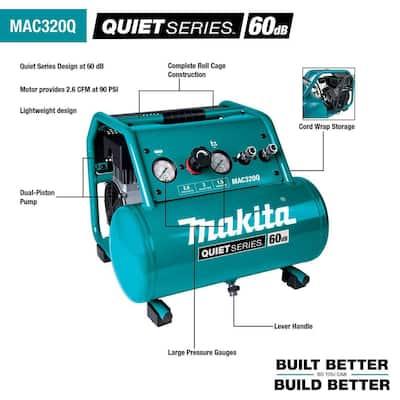 Quiet Series 1-1/2 HP 3 Gal. Oil-Free Electric Air Compressor