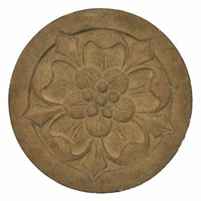 12 in. Dia Cast Stone Small Floral Step Stone or Wall Plaque-Aged Ivory (3-Sets)