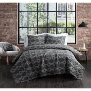 Nina Grey Cotton 3-Piece Full/Queen Quilt Set