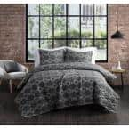 Nina Grey Cotton 2-Piece Twin XL Quilt Set