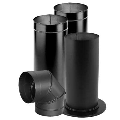 6 in. x 14.25 in. Single-Wall Black Stove Pipe Universal Up or Out Install Kit for Chimney Pipe