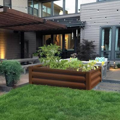 24 in. W x 48 in. L x 10 in. H Timber Brown Pre-Galvanized Powder-Coated Steel Raised Garden Bed Planter