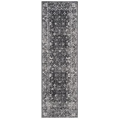 Evoke Charcoal/Ivory 2 ft. x 9 ft. Border Runner Rug