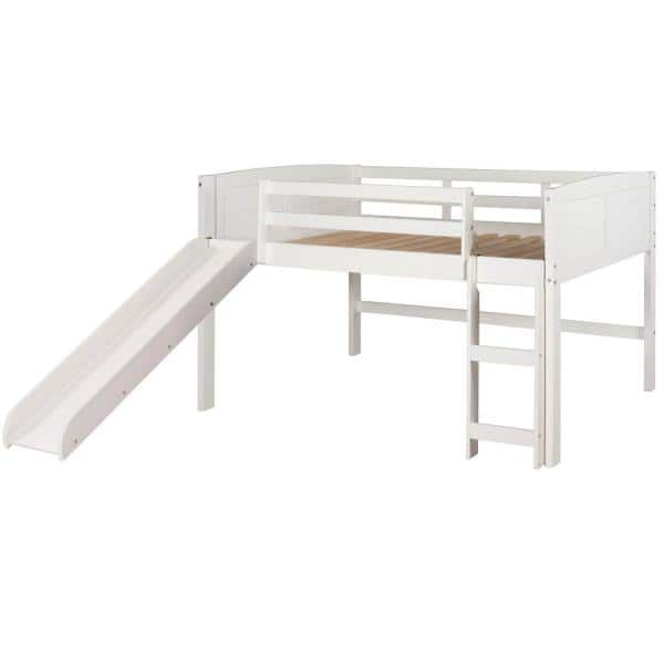 Donco Kids White Twin Louver Low Loft Bed with Slide   The Home Depot