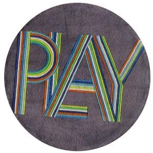 Lil Mo Hipster Play Blue 5 ft. x 5 ft. Indoor Kids Round Area Rug