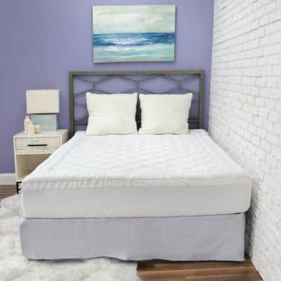 All Natural CBD 18 in. White King Polyester Mattress Pad