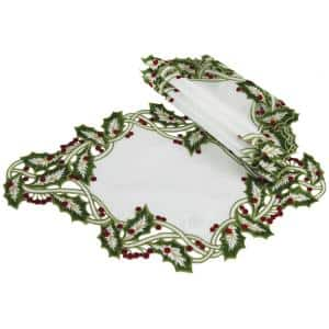 12 in. x 18 in. White Holiday Holly Embroidered Cutwork Placemat (4-Set)