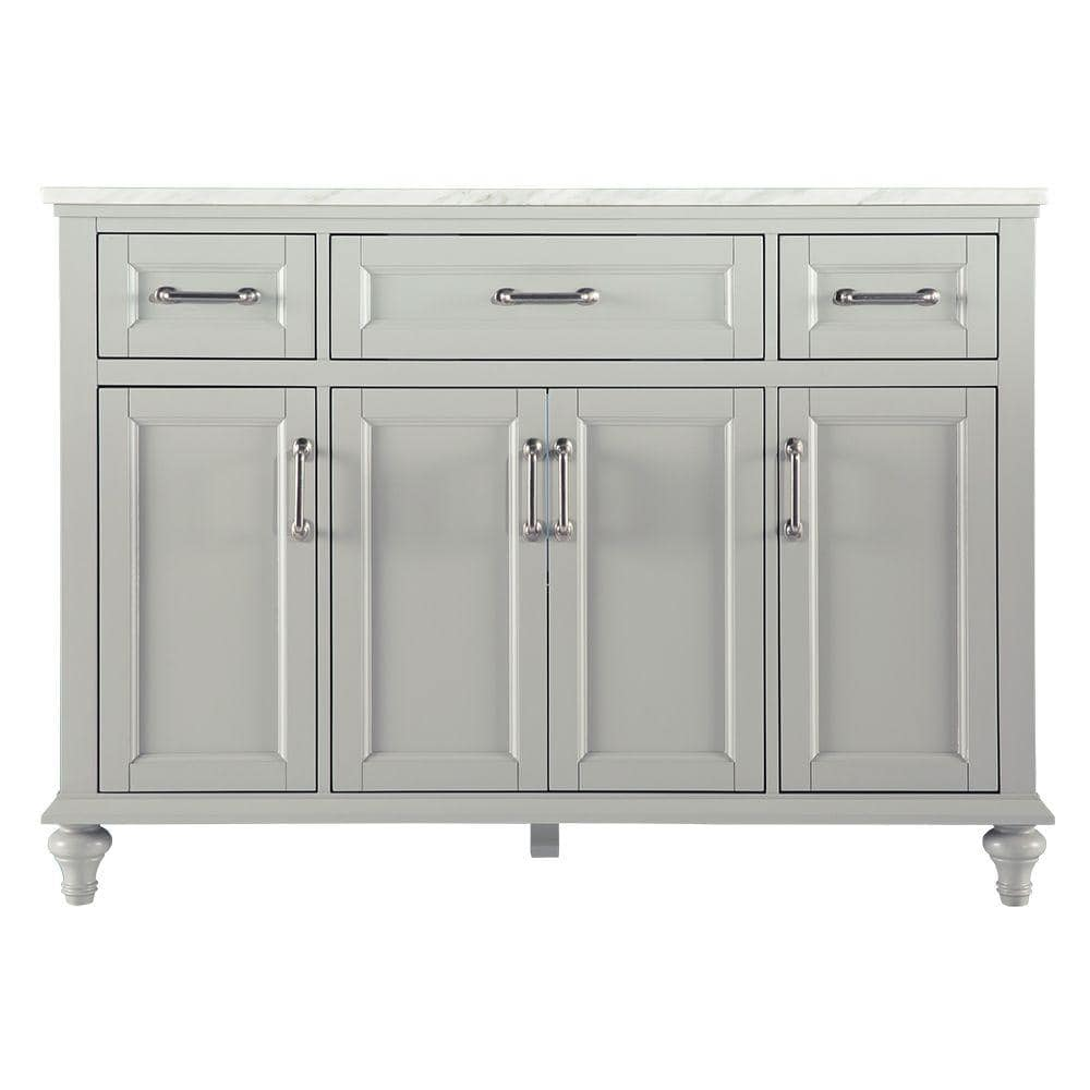 Home Decorators Collection Charleston 49 In W X 22 In D Bath Vanity In Grey With Marble Vanity Top In Carrara White Rlgv4922 The Home Depot
