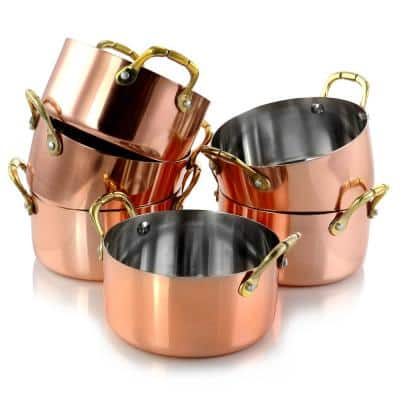 Rembrandt 0.5 qt. Round Stainless Steel Dutch Oven in Copper 6-Pack