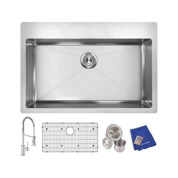 Elkay Crosstown Stainless Steel 33 In Single Bowl Dual Mount Kitchen Sink Kit With Faucet Ectsrs33229tfc The Home Depot