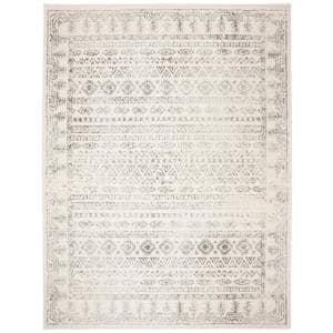 Tulum Ivory/Gray 9 ft. x 12 ft. Border Striped Distressed Area Rug