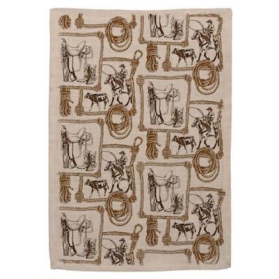 Tack Room Natural Animal Print Polyester Tea Towel Set (Set of 2)