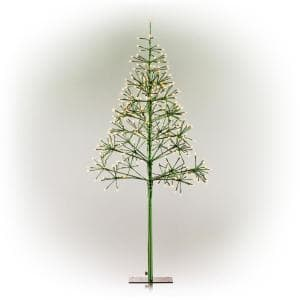 53/61 in. Tall Indoor/Outdoor Artificial Christmas Tree with LED Lights, Green
