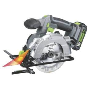 20-Volt Lithium-Ion Cordless 5-1/2 in. Circular Saw with Laser Guide, 18T Blade, Battery and Charger