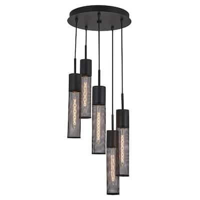 Milton 5-Light Black Pendant