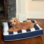 Sadie Reversible Small Navy and White Striped Olefin Pet Bed