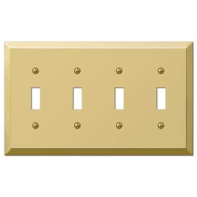 Metallic 4 Gang Toggle Steel Wall Plate - Polished Brass