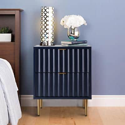 Blue High Gloss Nightstand 2-Drawer Accent Chest of Drawers with Golden Stands