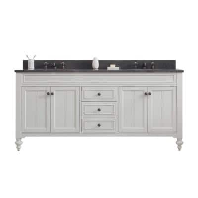 Potenza 72 in. W x 33 in. H Vanity in Ivory Grey with Granite Vanity Top in Blue Limestone with White Basins
