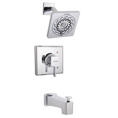 Kubos 1-Handle Tub Shower Universal Trim in Polished Chrome with Exhilaration Showerhead (Valve Not Included)