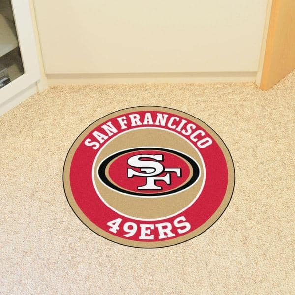 Fanmats Nfl San Francisco 49ers Red 2 Ft X 2 Ft Round Area Rug 17974 The Home Depot