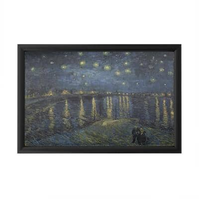 """""""The Starry Night II"""" by Vincent Van Gogh Framed with LED Light Landscape Wall Art 16 in. x 24 in."""