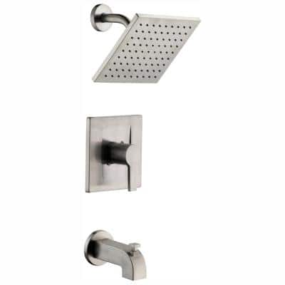 Modern Single-Handle 1-Spray Tub and Shower Faucet in Brushed Nickel (Valve Included)