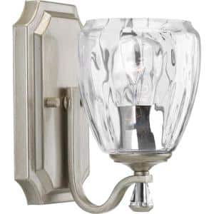 Anjoux Collection 1-Light Silver Ridge Clear Water Glass Luxe Bath Vanity Light
