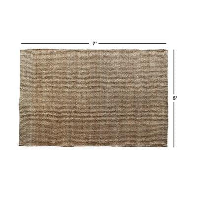 Splendid Tucked Natural 5' x 7' Handloom Woven Area Rug