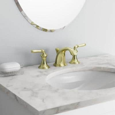 Devonshire 8 in. Widespread 2-Handle Low-Arc Bathroom Faucet in Vibrant Polished Brass