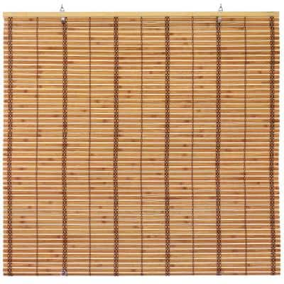 Oriental Furniture Burnt Bamboo Cordless Window Shade Two-Tone Honey 48 in. W x 72 in. L