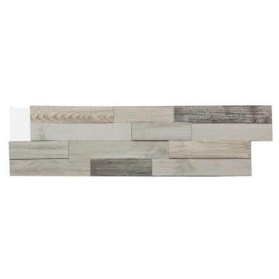 6.5 in. x 0.5 in. Weathered Barn Reclaimed Matted Wood Tiles