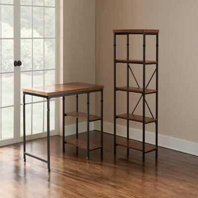 54 in. Black/Ash Veneer Metal 4-shelf Etagere Bookcase with Open Back
