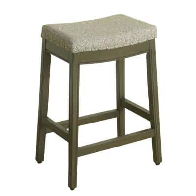 Blake 26 in. Heathered Gray Tweed with Nailheads Backless Wood Counter Height Barstool