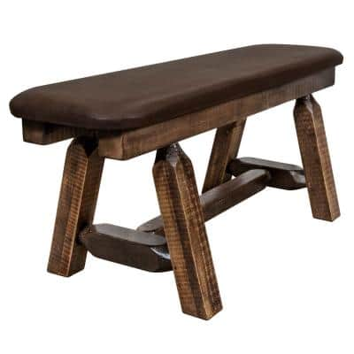 Homestead Collection 18 in. H Brown Wooden Bench with Saddle Pattern Upholstered Seat, 45 in. Length