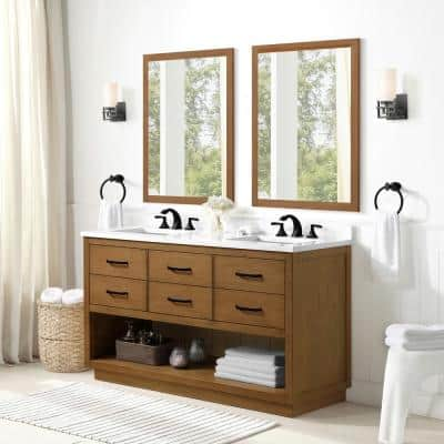 Carran 60 in. W Bath Vanity in Wax Pine with Engineered Stone Vanity Top in White with White Basins