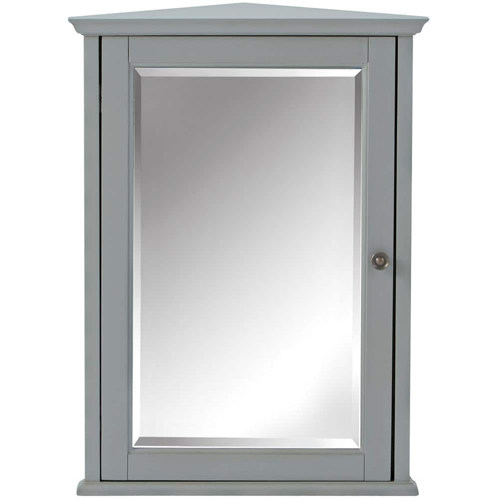 Home Decorators Collection Hamilton 27 In H X 20 In W Corner Wall Cabinet In Grey 0567700270 The Home Depot