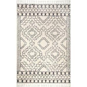 Vasiliki Moroccan Tassel Shag Off-White 12 ft. x 18 ft. Area Rug