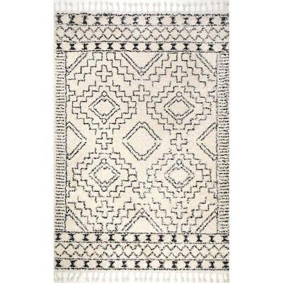 Vasiliki Moroccan Tassel Shag Off-White 6 ft. Square Rug