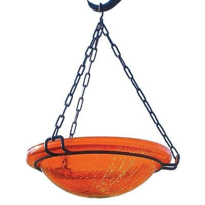 12.5 in. Tall Mandarin Crackle Glass Hanging Birdbath Bowl